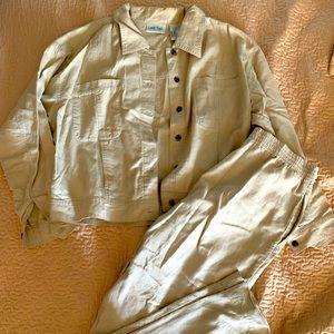 Designer Linen Plus Size Petite Pants Suit